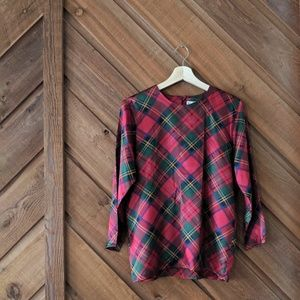 YSL YVES SAINT LAURENT Red Plaid Silk Blouse